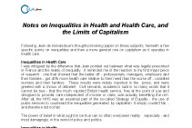 Notes on Inequalities in Health and Health Care, and the Limits of Capitalism par Julian Le Grand