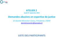 Atelier 2 Demandes abusives en expertise de justice